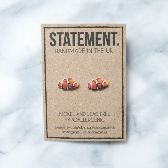 Clown Fish Nemo Style Pet Marine Animal Stud Earrings - 1 pair