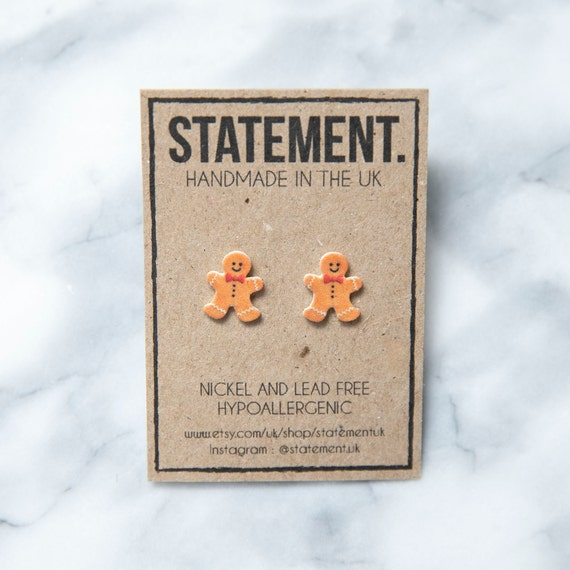Christmas Gingerbread Man Biscuit / Cookie Stud Earrings - 1 pair