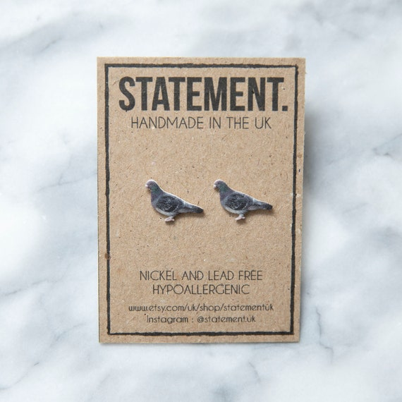 Annoying Grey Pigeon Urban Bird / Nature / Wildlife Stud Earrings - 1 pair
