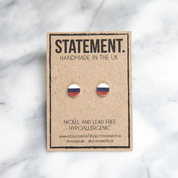 Flag of Russia / Russian Tricolour Red, White and Blue National Flag Stud Earrings - 1 pair