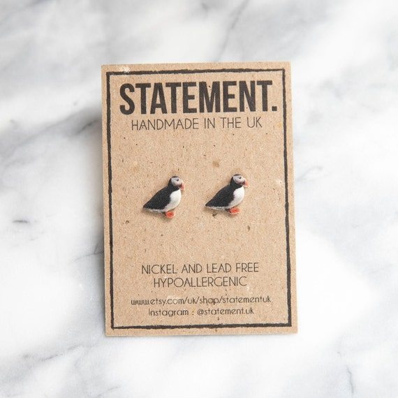 Puffin Seabird / Bird / Nature / Wildlife Stud Earrings - 1 pair