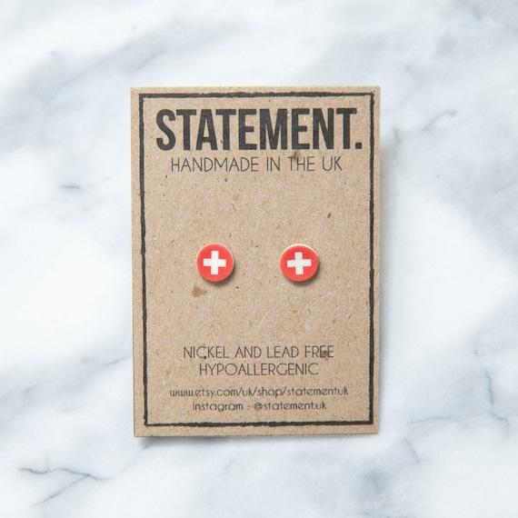 Switzerland / Swiss Cross / National Flag Red and White / Europe Stud Earrings - 1 pair