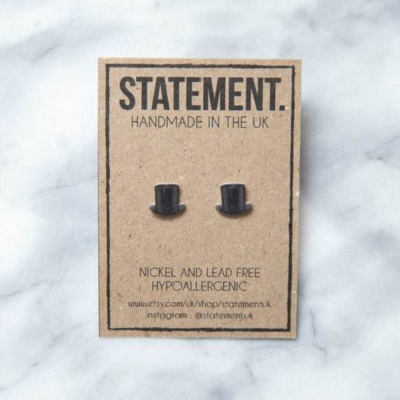 Posh Top Hat British Old Fashioned Stud Earrings - 1 pair