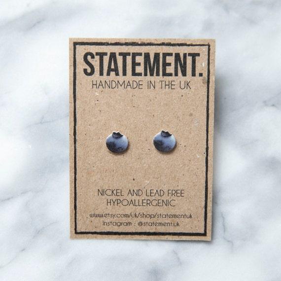 Purple Blueberry Fruit Stud Earrings - 1 pair