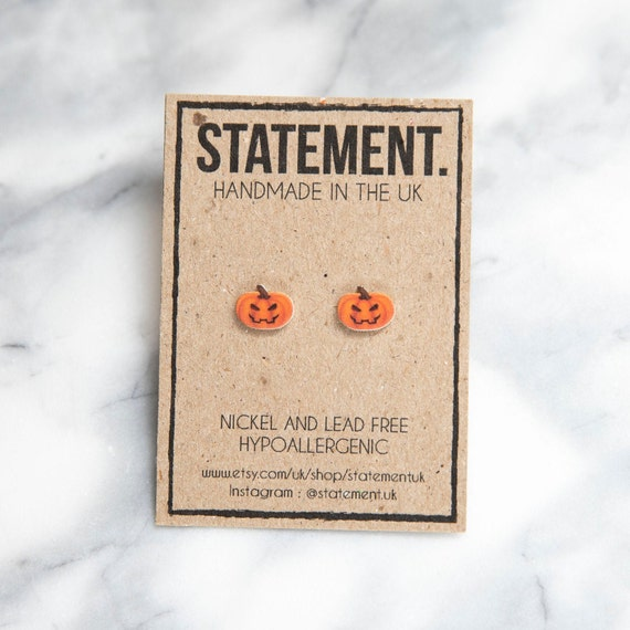 Orange Scary Halloween Pumpkin Stud Earrings - 1 pair
