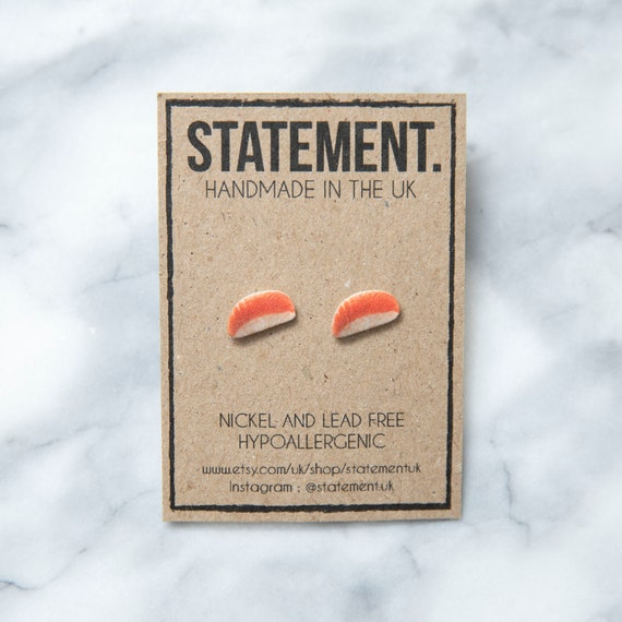 Salmon and Rice Japanese / Chinese Sushi / Food Stud Earrings - 1 pair