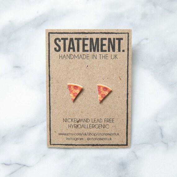 Slice of Italian Stuffed Crust Pepperoni Pizza / Snack Food Stud Earrings - 1 pair