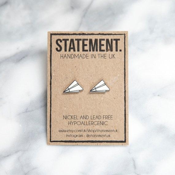 Origami White Paper Airplane Stud Earrings - 1 pair