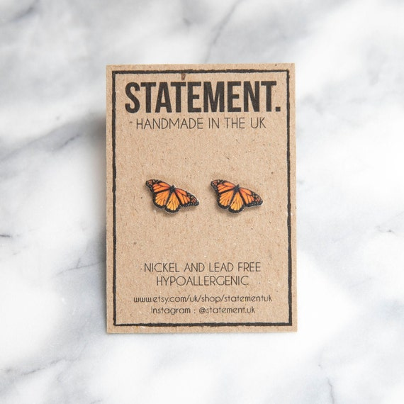 Orange / Yellow Monarch Butterfly / Insect Stud Earrings - 1 pair