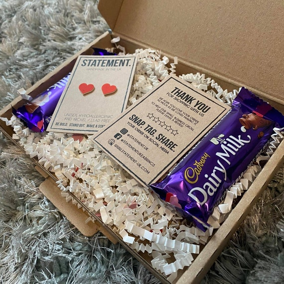 Heart Earrings Gift Box with Two Mini Dairy Milk Chocolate Bars for Valentines / Galentines / Palentines