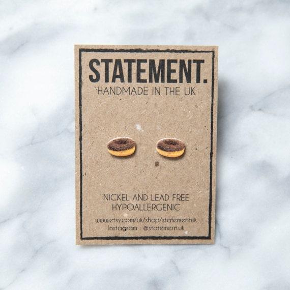 Chocolate Doughnut / Donut Stud Earrings - 1 pair