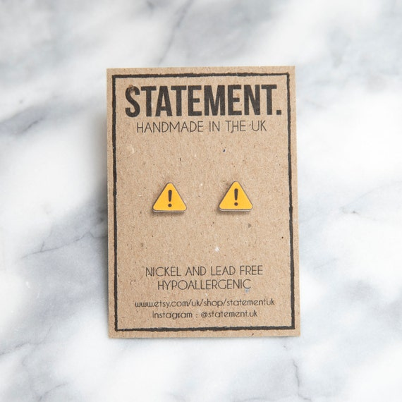 Yellow Warning Sign / Symbol / Exclamation Mark Stud Earrings - 1 pair