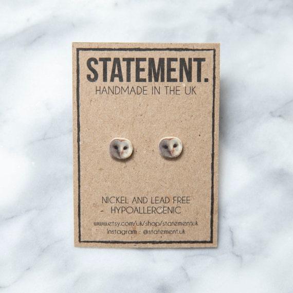 Barn Owl Face / Head Stud Earrings - 1 pair