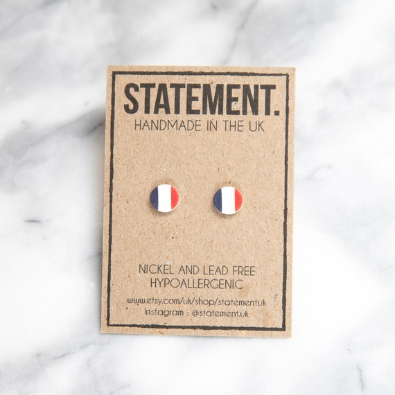 French Flag Circle Shaped Stud Earrings - 1 pair