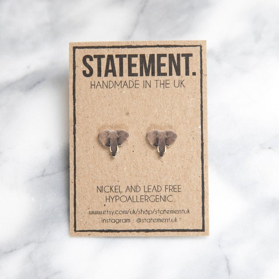 African Elephant Head Wildlife Safari Stud Earrings - 1 pair