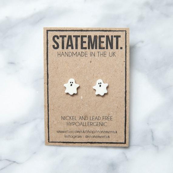Halloween White Ghost / Poltergeist Stud Earrings - 1 pair
