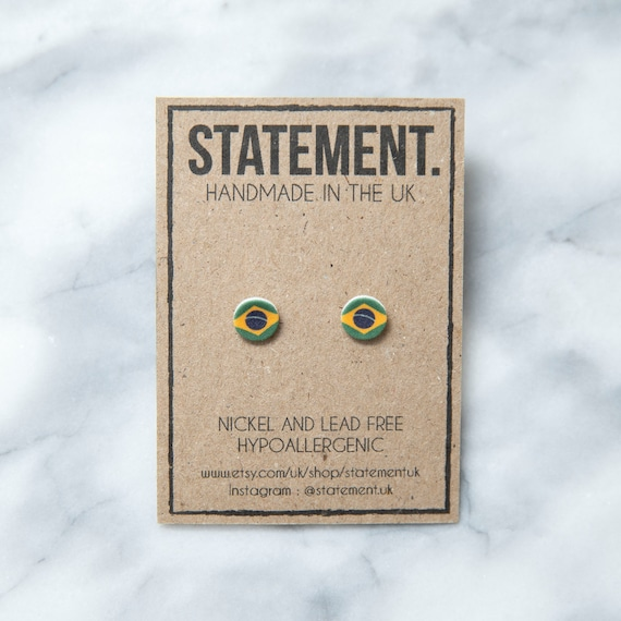 Brazil / Brazilian Flag Stud Earrings - 1 pair