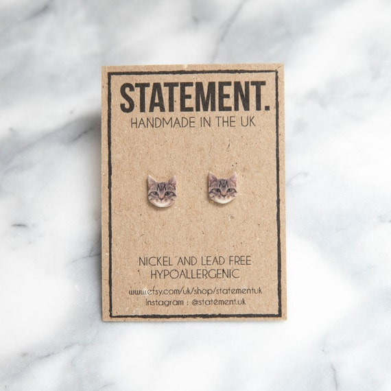Tabby Cat / Kitten Head / Face Stud Earrings - 1 pair