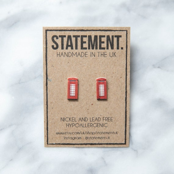 Red London Telephone Boxes Stud Earrings - 1 pair