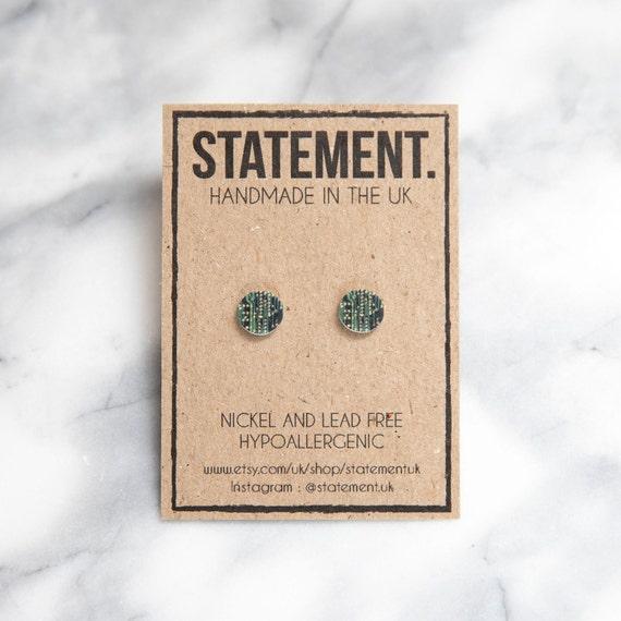 Motherboard / Circuit Board Print / Pattern Stud Earrings - 1 pair