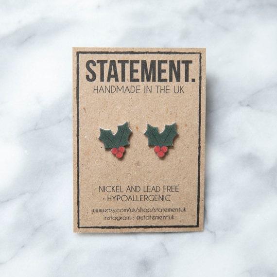Christmas Holly Leaves with Berries Stud Earrings - 1 pair