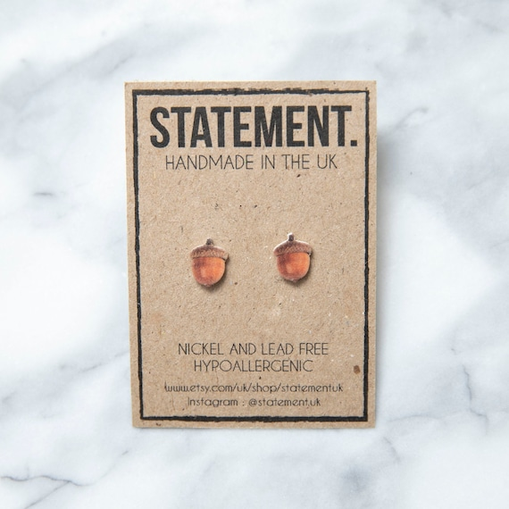 Acorn Nut Stud Earrings - 1 pair