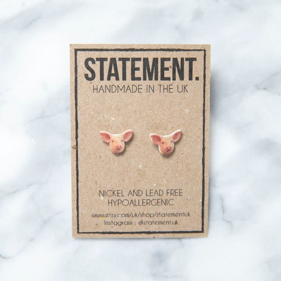 Pink Pig Face / Head Babe Stud Earrings - 1 pair