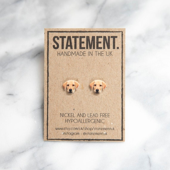 Cream Labrador Puppy Head Dog Breed Stud Earrings - 1 pair