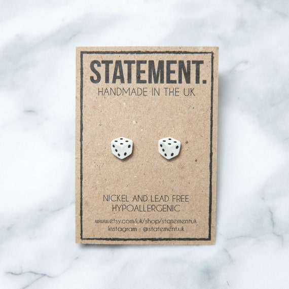 White and Black Spotted Dice / Board Game Stud Earrings - 1 pair