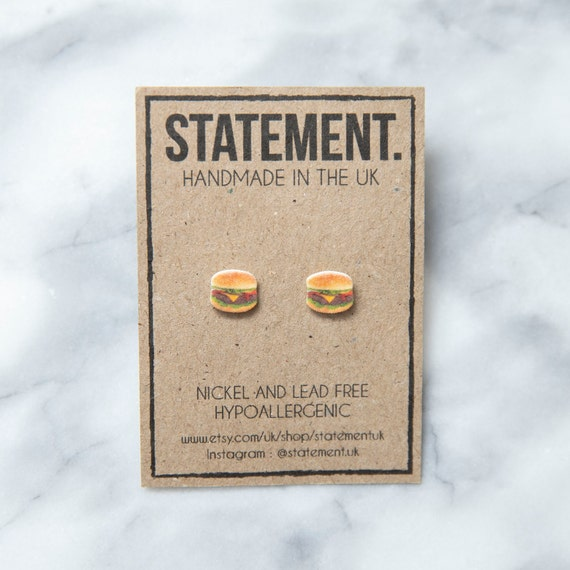 Beef / Cheese / Tomato / Lettuce /  BBQ / Fast Food Burger Stud Earrings - 1 pair