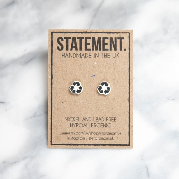 Recycling Logo / Symbol / Black and White / Sustainability / Awareness Stud Earrings - 1 pair