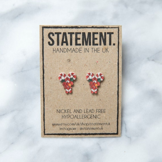 Christmas Red and White Candy Cane Sweet with Bow and Bells Stud Earrings - 1 pair