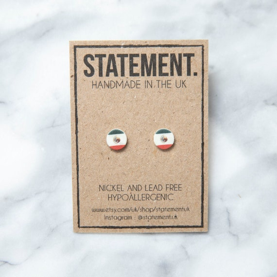 Mexico / Mexican Tricolour Red, White and Green Flag Stud Earrings - 1 pair