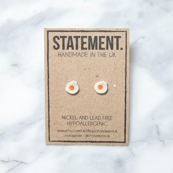 Fried Egg / Sunny Side Up / English Breakfast Stud Earrings - 1 pair