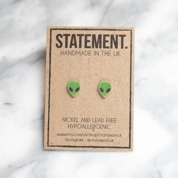 Sci-Fi Green Alien Head Stud Earrings - 1 pair
