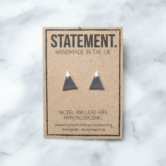 Geometric Mountain Shape with Snow / Grey and White / Kilimanjaro / Everest / K2 Stud Earrings - 1 pair