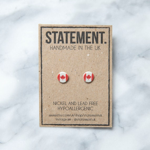 Canadian / Canada / Red and White National Flag Stud Earrings - 1 pair