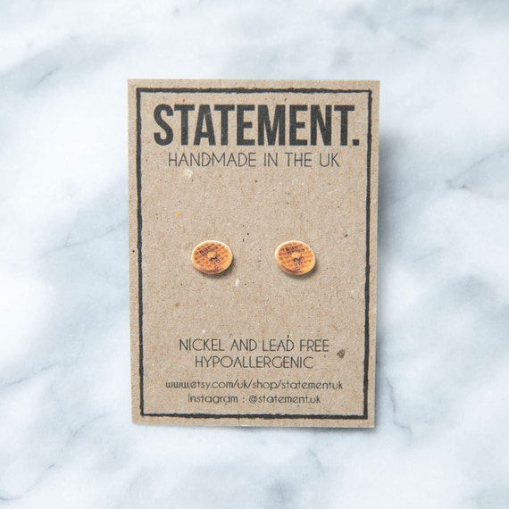 Butter and Honey American Style Pancake / Waffle Stud Earrings - 1 pair