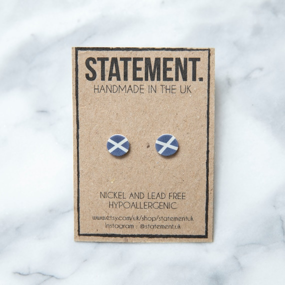 Scotland / Scottish Blue and White Cross National Flag Symbol Stud Earrings - 1 pair