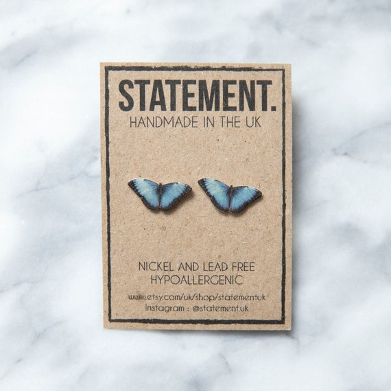 Blue Morpho Butterfly / Insect Stud Earrings - 1 pair
