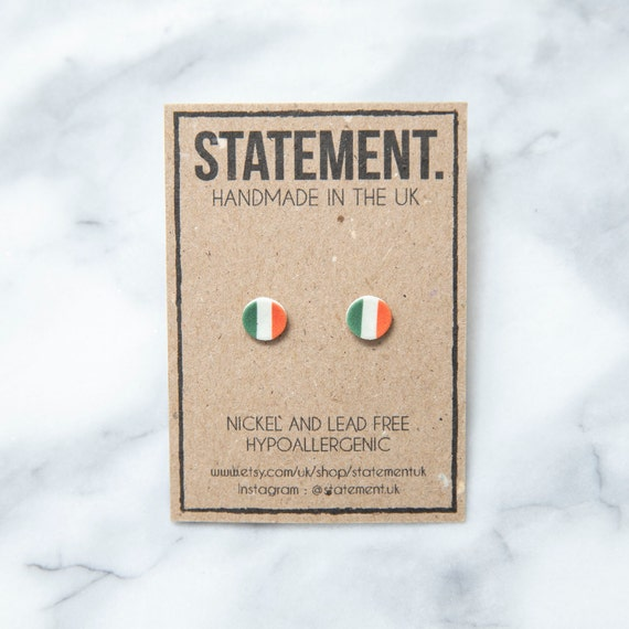 Irish / Ireland National Tricolour Flag Stud Earrings - 1 pair