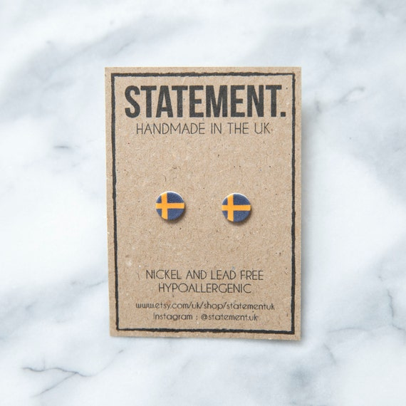 Swedish / Sweden Blue with Yellow Cross National Flag Stud Earrings - 1 pair