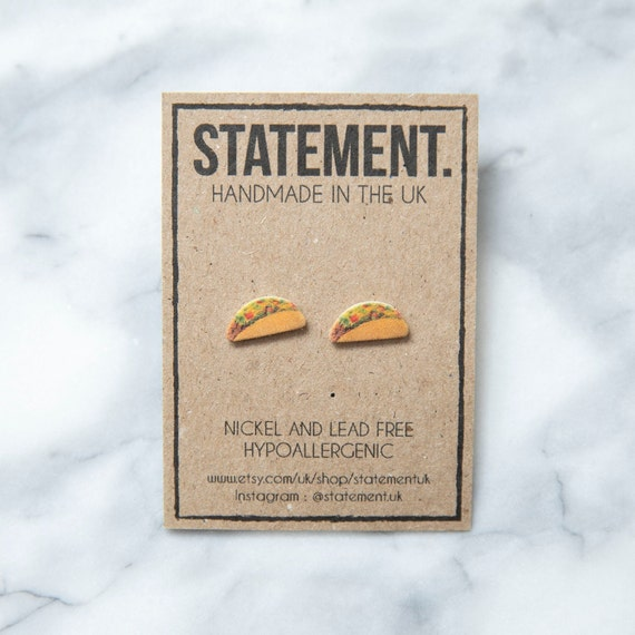 Mexican Taco Folded Tortilla Stud Earrings - 1 pair