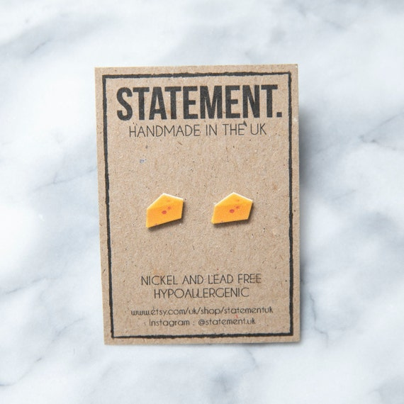 Yellow Holey Cheese / Cheddar Block / Triangle Slice Stud Earrings - 1 pair
