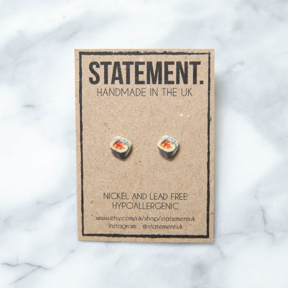 Japanese Sushi Roll Stud Earrings - 1 pair