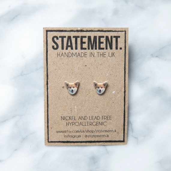 Welsh Corgi Dog Breed Animal Head / Face Stud Earrings - 1 pair