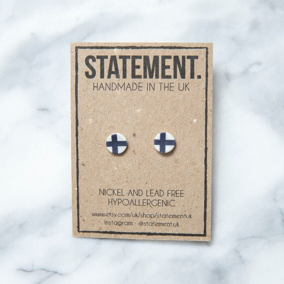 Finnish / Finland Flag Stud Earrings - 1 pair