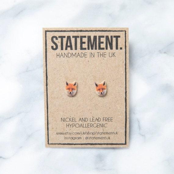 Fox Head / Face Wildlife / Nature Predator Stud Earrings - 1 pair