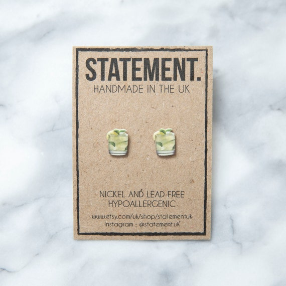 Mojito Cuban Cocktail with Lime, Mint and Rum Stud Earrings - 1 pair