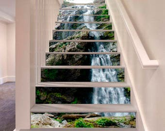 Waterfall Stairway Decoration Adhesive Vinyl Stair Riser Panels Stairs  Risers Stickers Mural Photo Mural Vinyl Decal Wallpaper Removable